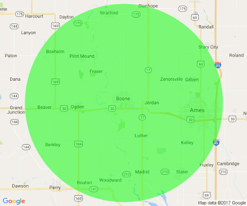 Majors Concrete service area includes Boone, Ames, Slater, Ogden, Grand Junction, Pilot Mound, Stratford, Stanhope, Luther, Madrid, Woodward, Beaver, Boxholm, Gilbert, Kelly, Berkley and Fraser.