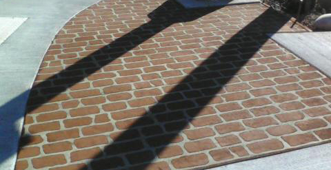 Inlaid brick look made of concrete
